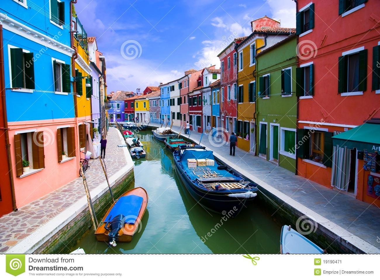 Venice, Burano Island Canal Stock Image.