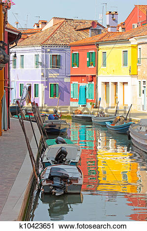 Stock Photography of Colorful buildings in Burano island sunny.