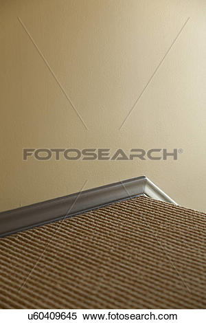 Stock Image of Trim along top of staircase; Burbank; California.