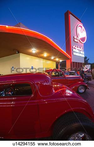 Stock Image of Classic cars and hot rods at 1950's Diner, Bob's.