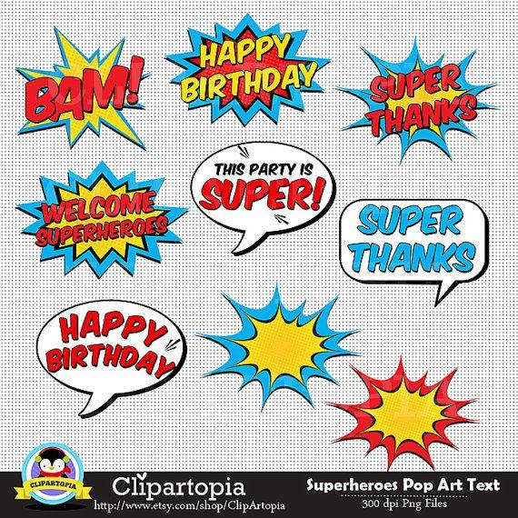 Superheroes texto y burbujas digital clipart para uso.