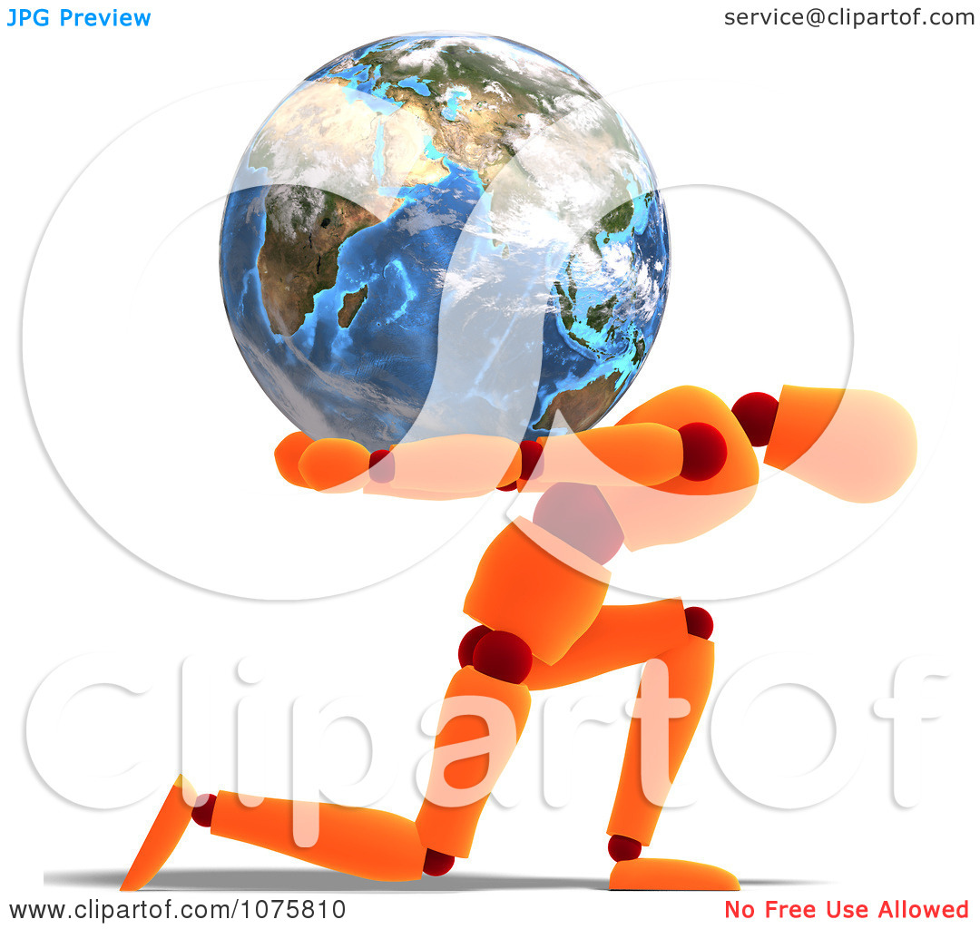 Clipart 3d Orange Mannequin Carrying The Burden Earth.
