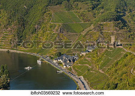 "Stock Photo of ""Aerial view, town of Beilstein with the ruins of."