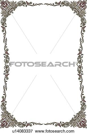 Clip Art of Burgundy and Green Border u14083337.