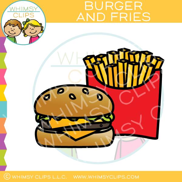Cheeseburger and Fries Clip Art.