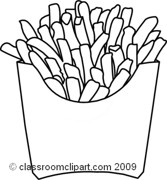 Black And White French Fries Clipart.