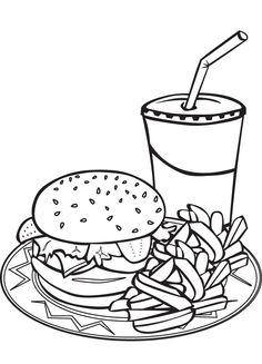Burger and fries clipart black and white.