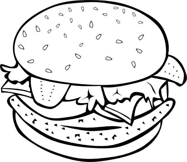 Chicken Burger (b And W) clip art Free vector in Open office.