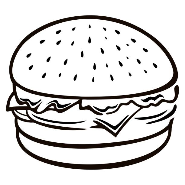 Burger clipart black and white 4 » Clipart Station.