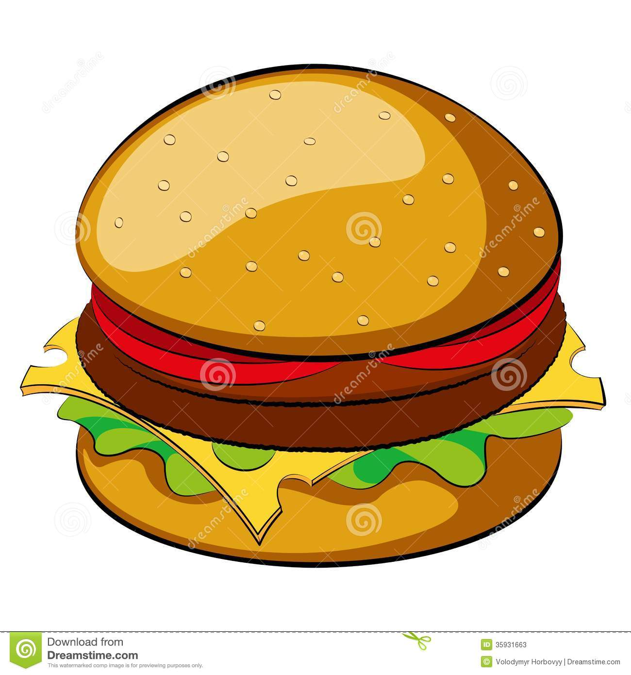 Cute burger clipart.