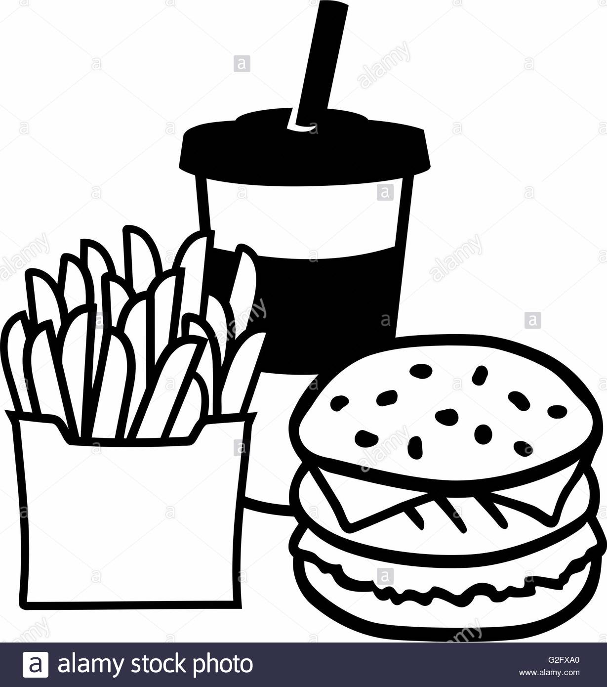 Burger And Fries Black and White Stock Photos & Images.