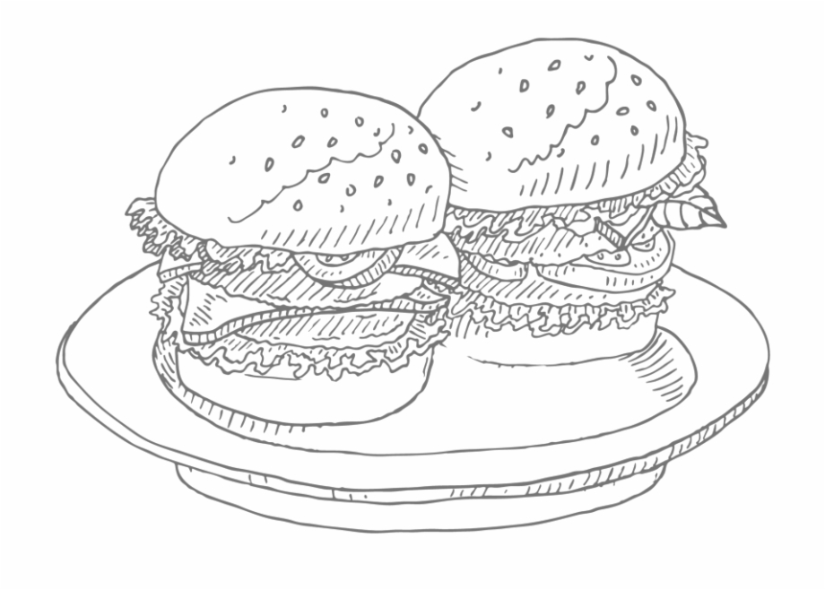 Burger Icon 03 Line Art.