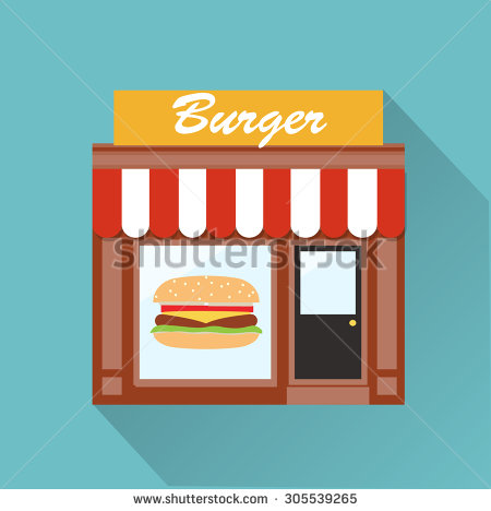 Showing post & media for Cartoon burger shop.