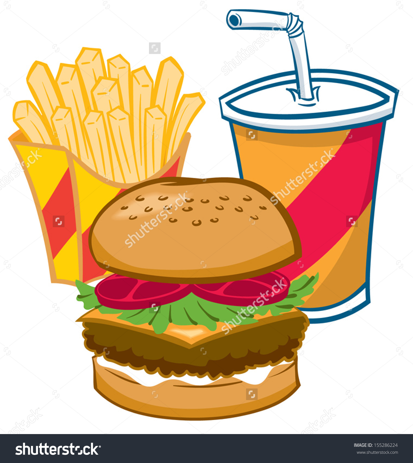 Clipart Burger And Fries.