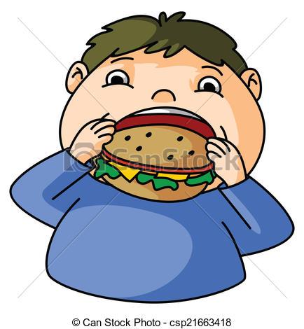 Vector Clip Art of Fat Boy eat burger csp21663418.