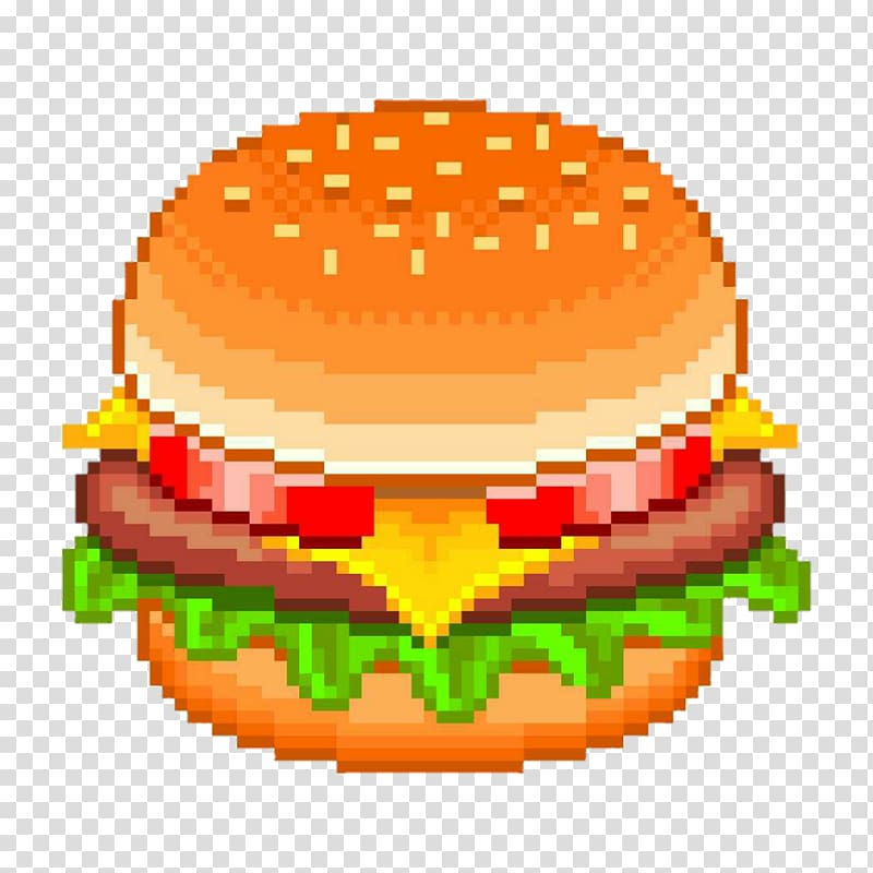 Hamburger Cheeseburger Fast food Pixel art, burger king.