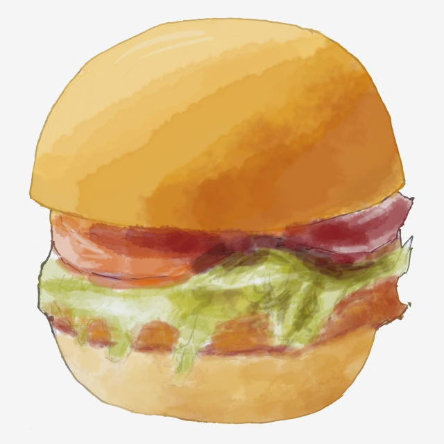 Hand Painted Watercolor Burger King Png Hamburger Burger, Mcdonalds.