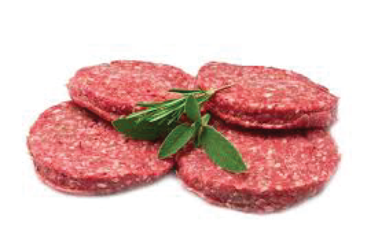 Beef Burger Patties per Kg.