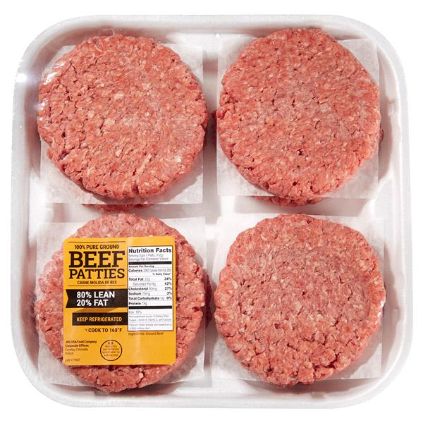 80/20 Ground Beef Burger Patties, 8 Count.