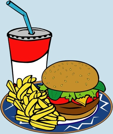 Fries Burger Soda Fast Food clip art Free vector in Open office.