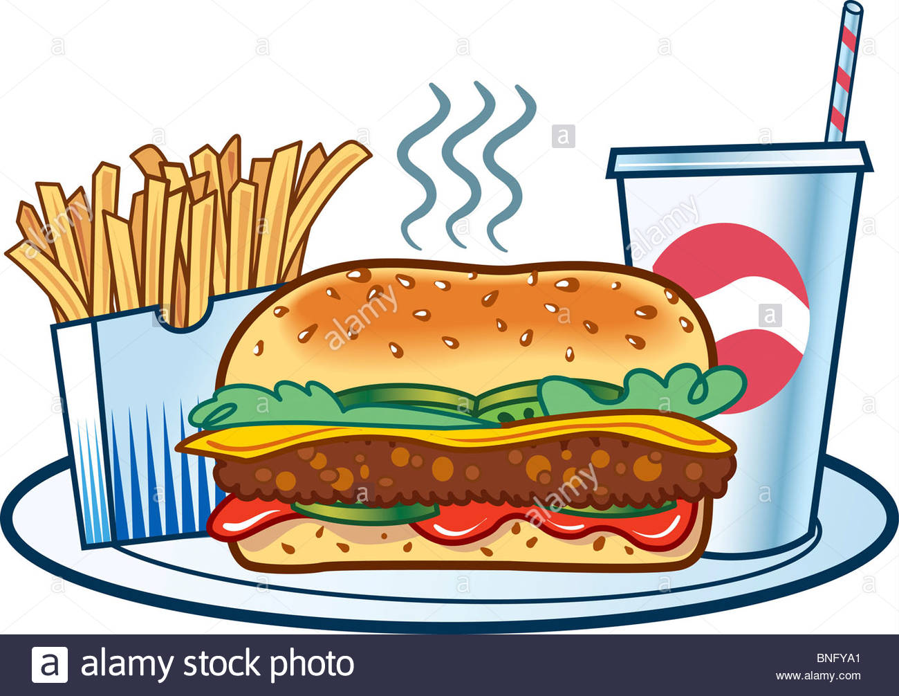 Burger served with French fries and cold drink Stock Photo: 30468873.