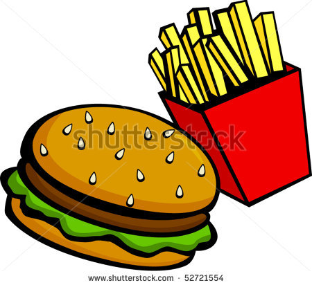 Burgers and fries clipart.