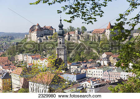 Stock Photography of Castle on hill, Burghausen, Bavaria, Germany.