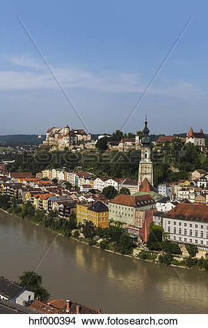 Stock Photo of Germany, Bavaria, View of Burghausen Castle and.