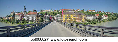 Picture of Germany, Bavaria, Burghausen, Old town with castle.