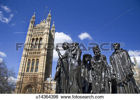 Pictures of England, London, Parliament Fields, Rodin's Burghers.