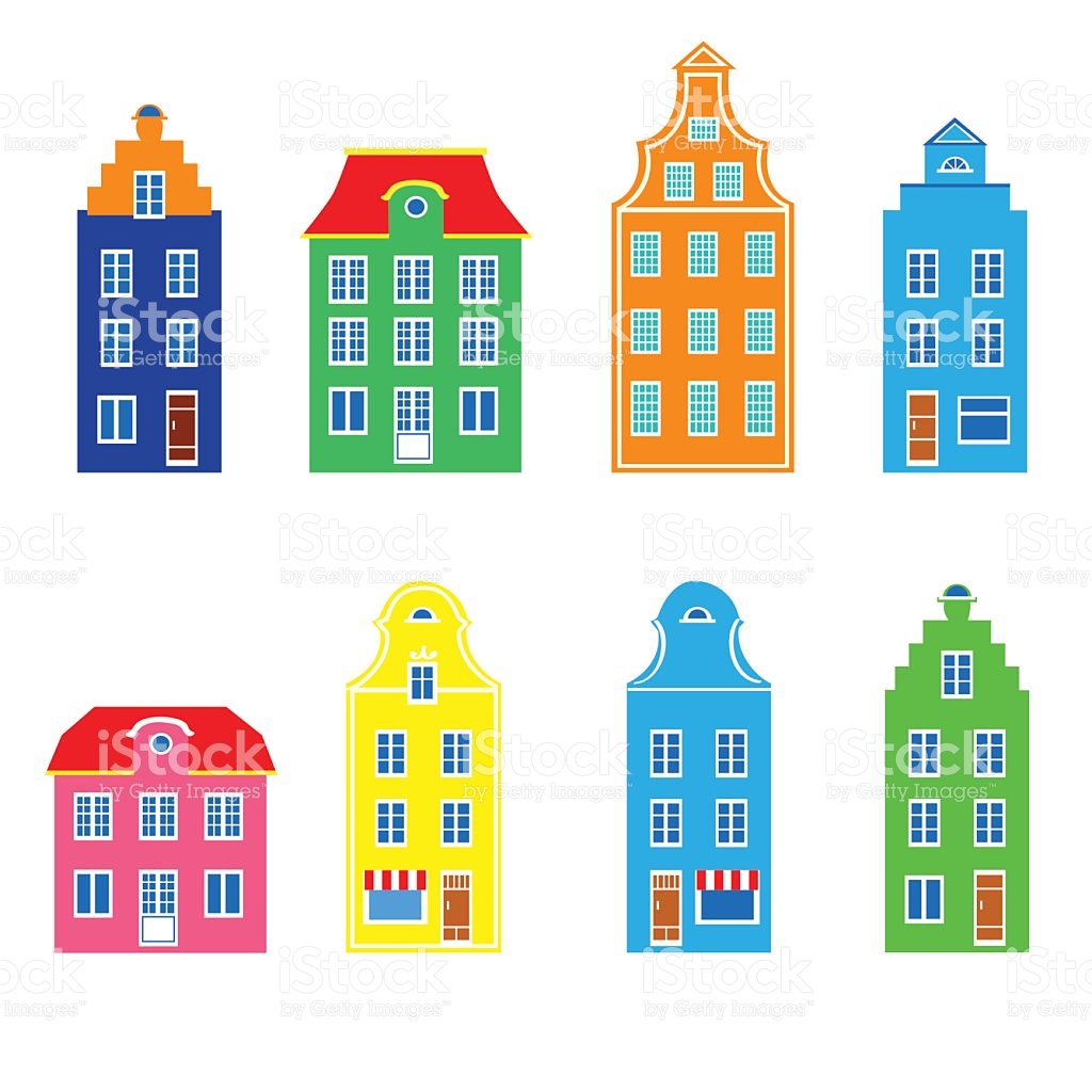 Colorful Facade Of Burgher Houses Vector Illustration Isolated On.