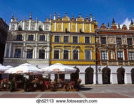 Stock Photo of Burgher Houses, Great Market Square, Zamosc, Lublin.