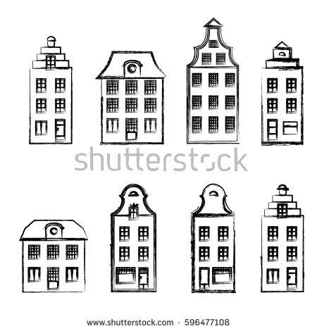 Vector Illustration Europe American Houses Stock Vector 94289074.