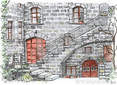 Dark Courtyard Stock Illustrations.