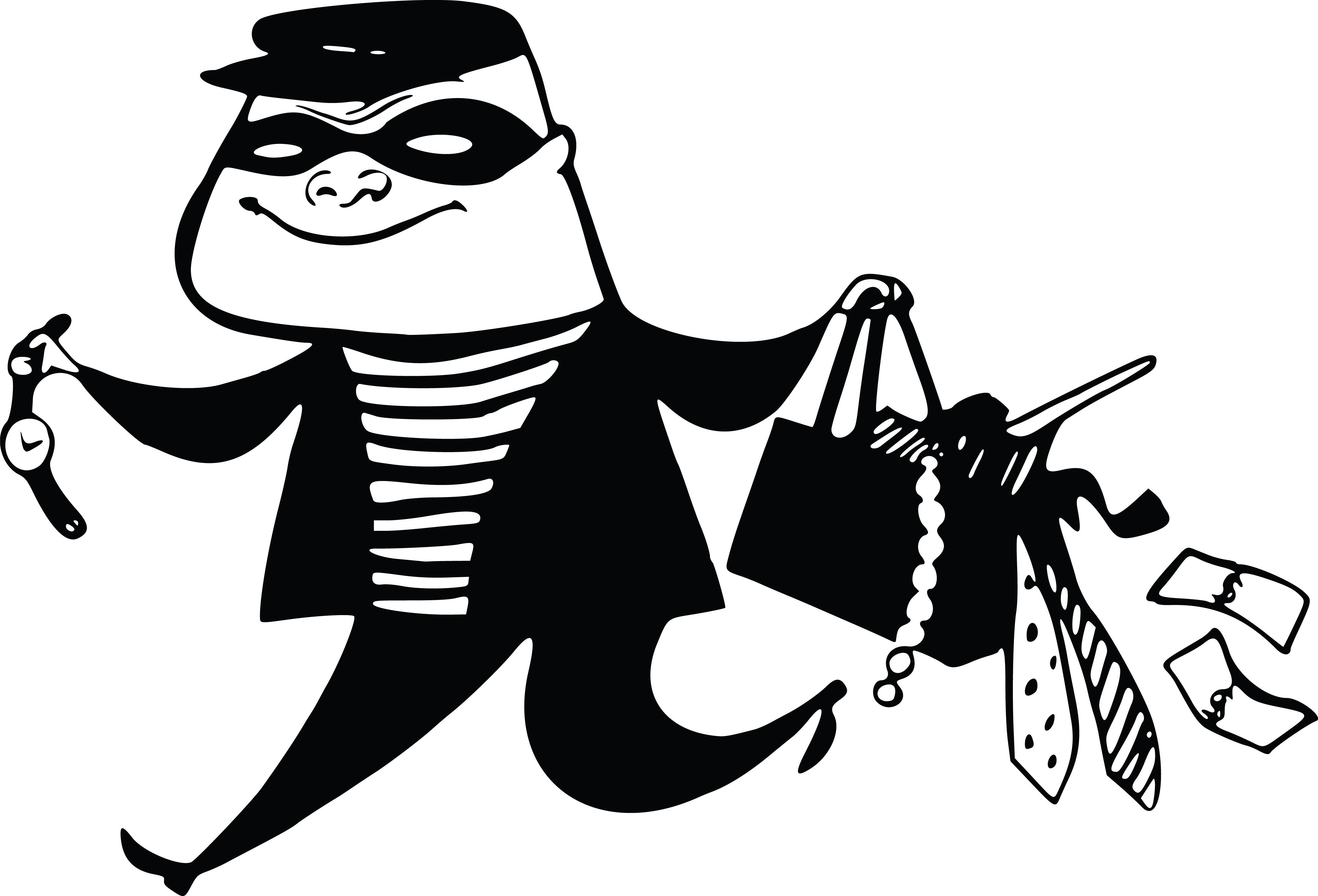 Free Clipart Of A burglar running away.