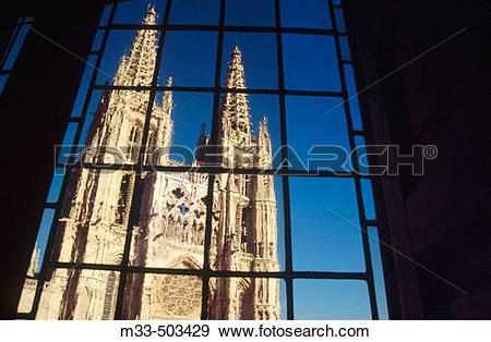 Stock Photograph of Burgos cathedral seen from El Mes?n del Cid.