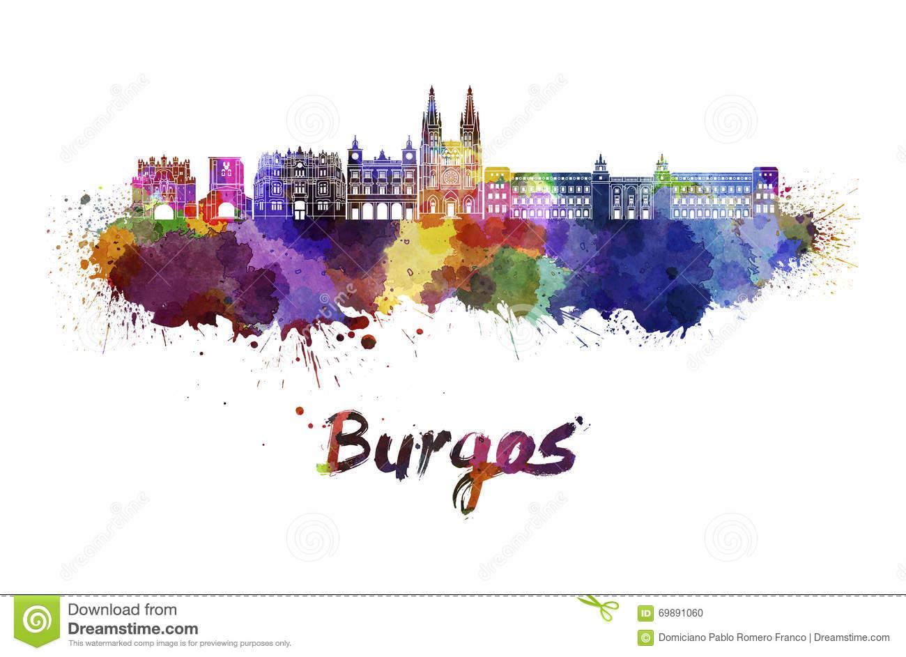Burgos Skyline In Watercolor Stock Illustration.