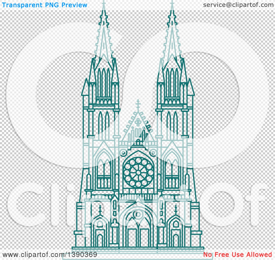 Clipart of a Turquoise Lineart Styled Landmark, Burgos Cathedral.