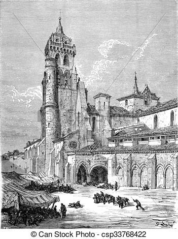 Clip Art of The Monastery of Las Huelgas, near Burgos, vintage.