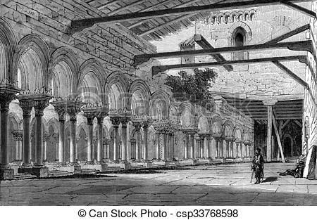 Stock Illustration of Cloister of the Monastery of Las Huelgas.