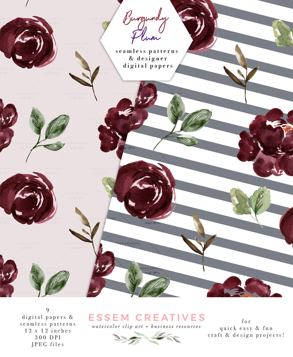 Floral Digital Paper, Burgundy Blush Watercolor Fall Scrapbooking Paper  Seamless Repeat Patterns.