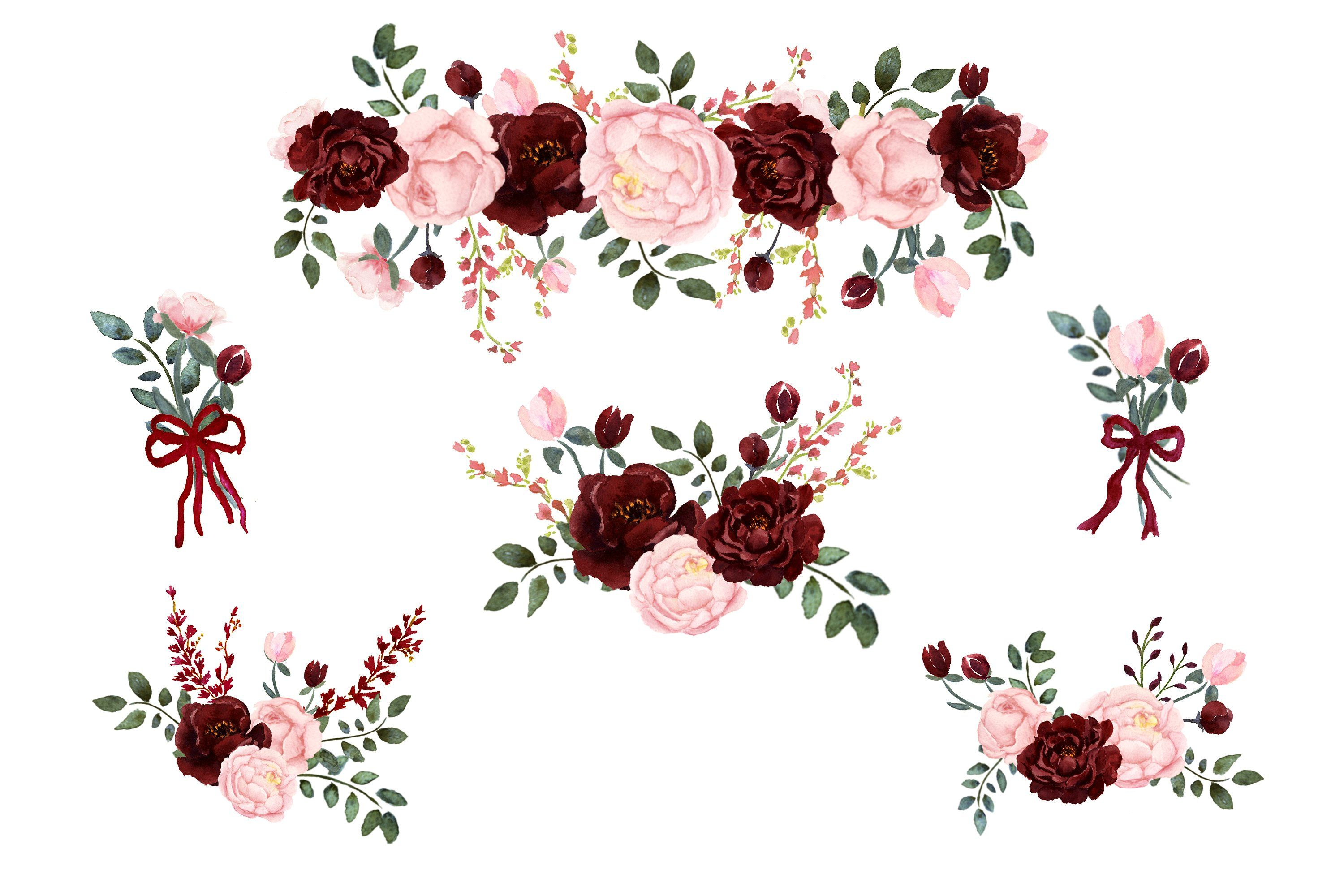 Blush & Burgundy Watercolor Clip Art by Graphic Blue Bird on.