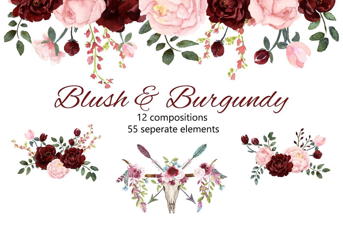 Blush & Burgundy Watercolor Clip Art ~ Illustrations.