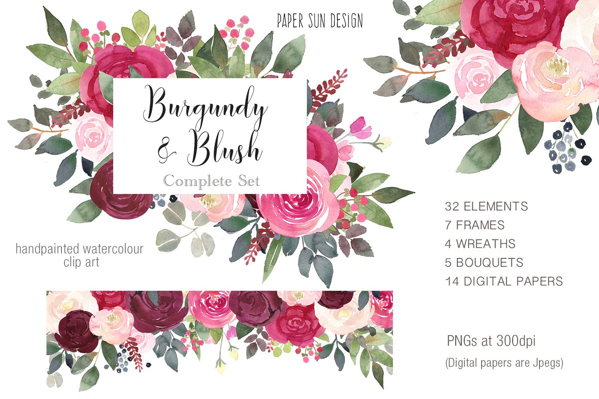 Burgundy and Blush Clipart Set ~ Illustrations ~ Creative Market.