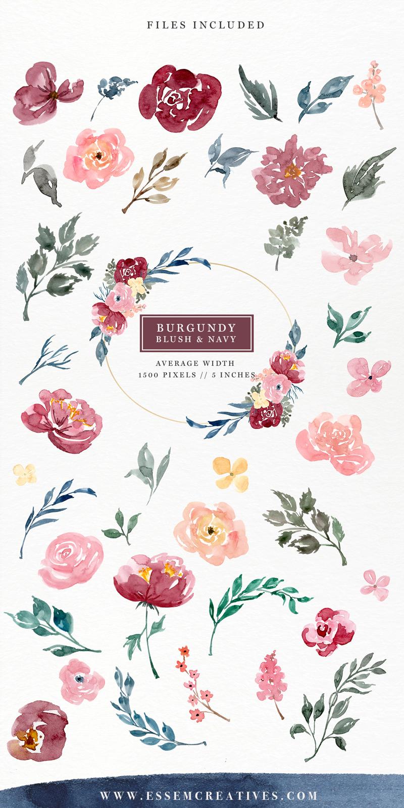 Burgundy Blush Navy Watercolor Flowers Clipart Set.