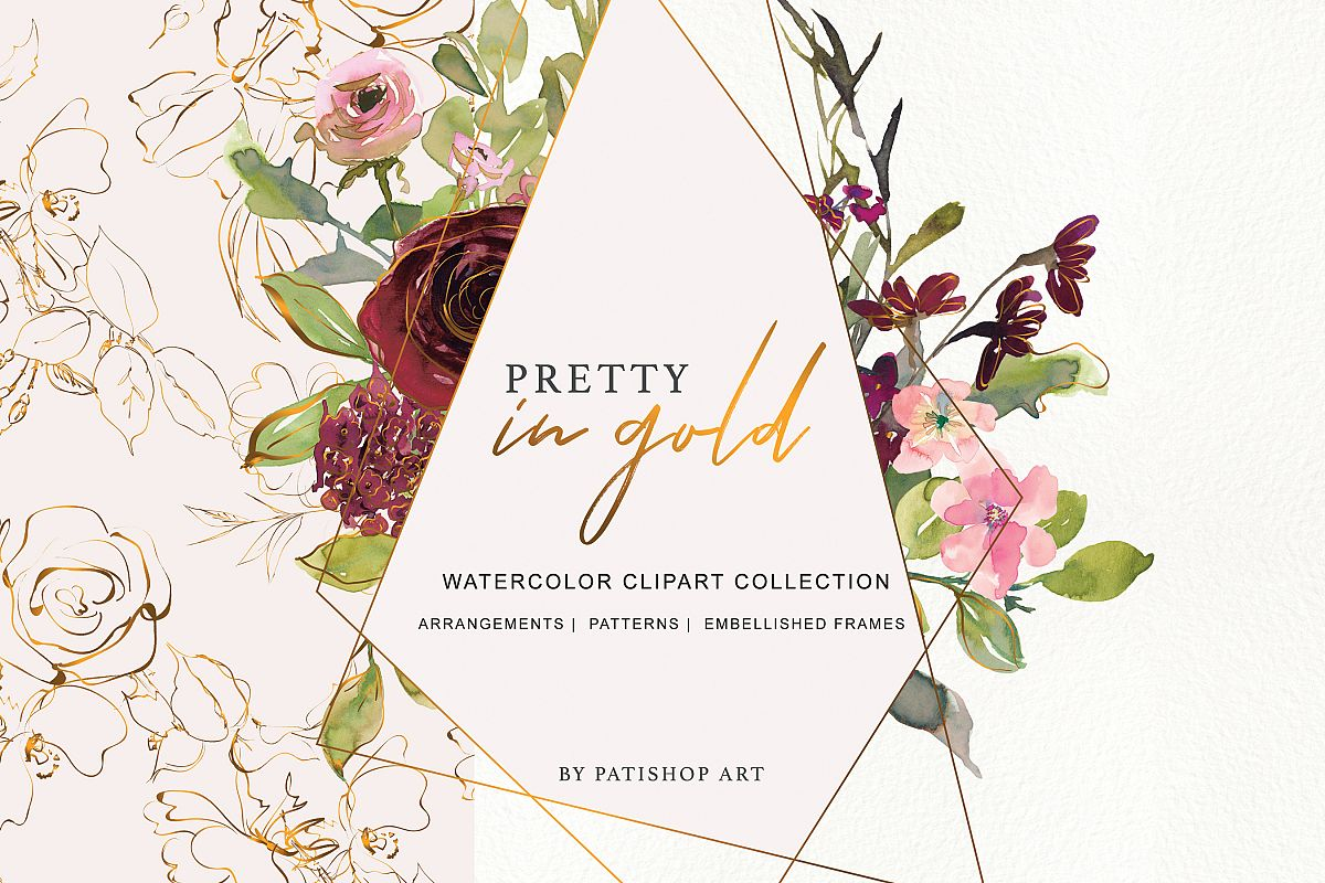 Watercolor Burgundy Blush and Gold Floral Bouquet Clipart.