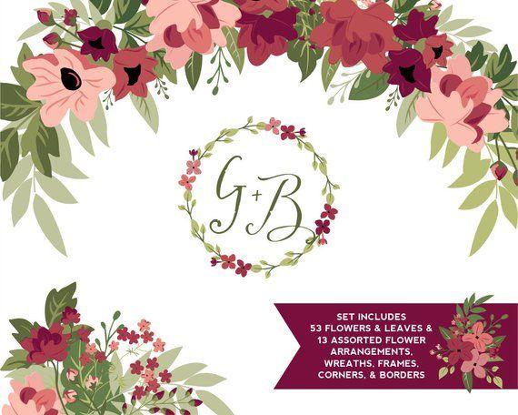 Burgundy & Greenery Flower ClipArt.
