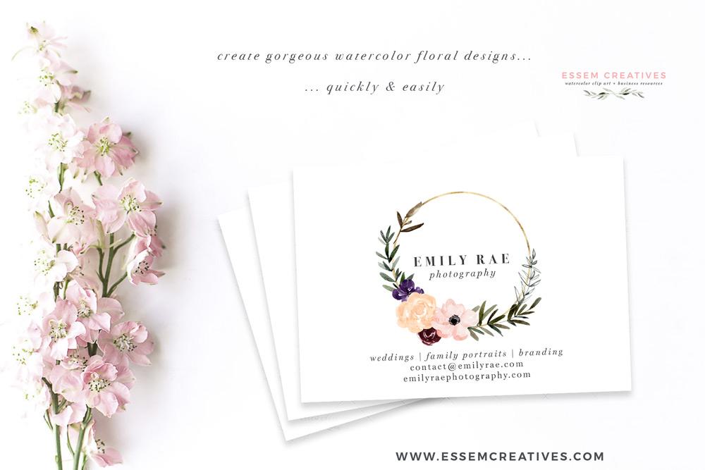 Burgundy Blush Pink Plum Flowers Watercolor Clipart, Rustic Boho Fall  Wedding Invitation Logo Branding.