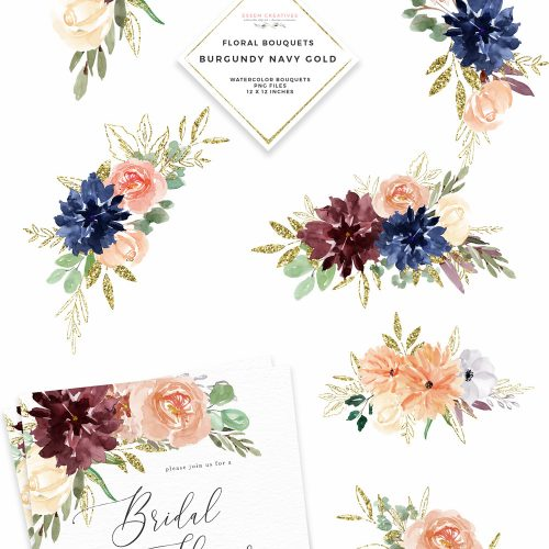 Burgundy Navy Gold Watercolor Flowers Clipart, Geometric.