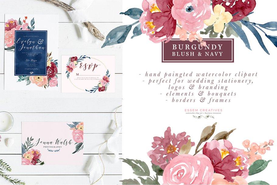 Burgundy Blush Navy Flowers Clipart ~ Illustrations.